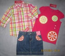 Gymboree Citrus Cooler Denim Skirt Skort Pink  Plaid Stripe Top 6 8  NWT New