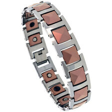 Tungsten Carbide 2-Tone Magnetic Bracelet w/ Triangular Faceted Square Links
