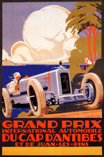GRAND PRIX INTERNATIONAL AUTOMOBILE CAR RACE ANTIBES FRENCH VINTAGE POSTER REPRO