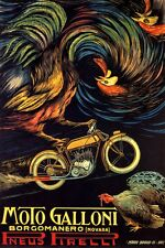 ITALY GALONNI MOTORCYCLE TIRES PNEUS PIRELLI ITALIA ROOSTER VINTAGE POSTER REPRO