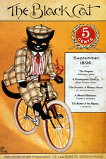 1896 THE BLACK CAT RIDING BICYCLE SHORTSTORY AMERICAN VINTAGE POSTER REPRO