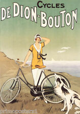 BICYCLE CYCLES DE DION BOUTON WOMAN DOG OCEAN VIEW FRENCH VINTAGE POSTER REPRO