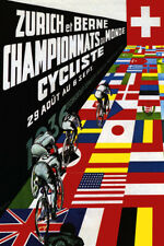 ZURICH 1936 TRACK CYCLING WORLD CHAMPIONSHIPS BICYCLE RACE VINTAGE POSTER REPRO