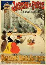 FRENCH JARDIN DE PARIS ROLLER COASTER WATER RIDE NIAGARA VINTAGE POSTER REPRO