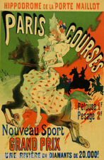 PARIS COURSES HIPPODROME RACE GIRL RIDING HORSE FRENCH VINTAGE POSTER REPRO