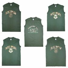 COOL NEW PRINT US MILITARY STYLE SLEEVELESS MUSCLE T SHIRT OLIVE GREEN