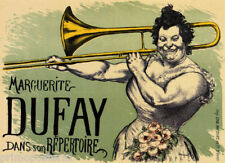 TROMBONIST MARGUERITE DUFAY MUSICIAN TROMBONE PLAYER FRENCH VINTAGE POSTER REPRO