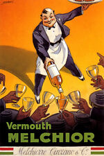 VERMOUTH MELCHIOR CINZANO WAITER ALCOHOL DRINK ITALY VINTAGE POSTER REPRO