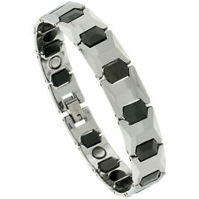 Tungsten Carbide Magnetic Bracelet, 2-Tone Faceted Cushion Links