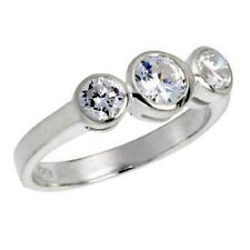 Sterling Silver 3-Stone Engagement CZ Ring, 5mm (0.50ct) Brilliant Cut Center CZ