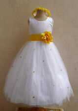 NEW WHITE YELLOW FLOWER GIRL RECITAL CHILDREN DRESSES