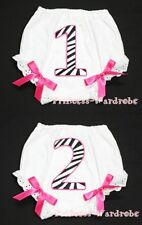 Hot Pink Zebra Number Print Bows Panties Bloomer 6m-3Y