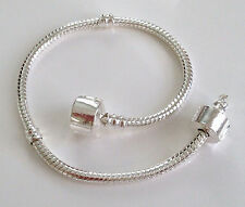 PLAIN Clasp Snake Chain CHARM Bead BRACELET + Hinged STOPPER CLIP 15cm to 23cm