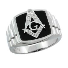 Sterling Silver Men's Black Onyx MASONIC Ring w/CZ Stones #rcz825