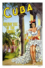 "Vintage Travel Art -Cuba- Holiday Isle of the Tropics- 24""x36""  on Canvas"