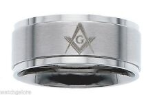 New Men's 10mm Stainless Steel Masonic Freemason Mason Blue Lodge Ring