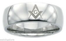 New Men's 8mm Stainless Steel Masonic Freemason Mason Blue Lodge Ring