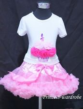 Light Pink Full Pettiskirt with Hot Light Pink Rose Birthday Cake Tank Top 1-8Y