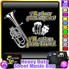 Tenor Horn Play For A Pint - Sheet Music & Accessories Custom Bag by MusicaliTee