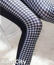 Two Tone Leggings Footless Pants Punk Slim Look Sexy Black/White One Size