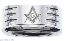New Men's 8mm Stainess Steel Masonic Freemason Mason Blue Lodge Ring