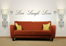 Live Laugh Love Quote, Vinyl Wall Art Sticker, Mural, Decal, Hearts