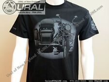 NEW Front and Back of a Ural Motorcycle Black Cotton Short-Sleeve T Shirt S-3XL
