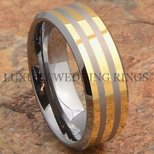 Mens Tungsten Ring 14K Gold Accent Wedding Band Anniversary Jewelry Size 6-13
