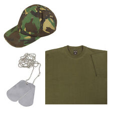 Kids Boys Girls Army Soldier Baseball Cap, Green T-shirt and Silver Dog Tags