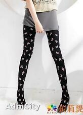 Admcity Opaque Spandex Pantyhose Tights with Bow Print Black/Pink