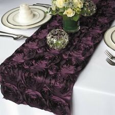 "10 Pack 12"" x 108"" Rosette Satin table Runners Wedding Decorations 20 Colors"