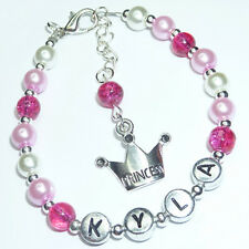 Girls Baby Personalised Silver Crown Charm Friendship Bracelet Gift Beads - BR13