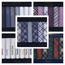 MENS BOXED HANDKERCHIEFS CHOICE OF 6 STYLES 100% COTTON HANKIE HANKY HANKEY