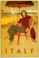 FASHION GIRL HAT UMBRELLA DRINK BEACH SAILBOAT DANCE ITALY VINTAGE POSTER REPRO