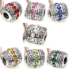 Wholesale Lot 7pcs Silver CZ Crystal European Spacer Charm Beads For Bracelet