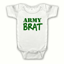 Funny Cute Army Brat One Piece Creeper Bodysuit WHITE - Infant Baby Clothing