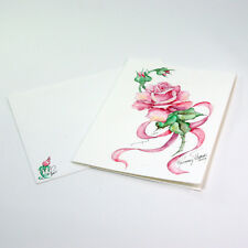 Watercolor Hand Painted Iris, Rose or Pansy Blank Notecard with Envelope