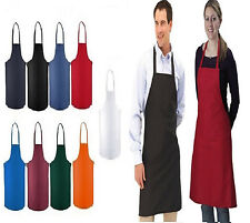 12 NEW BLACK RED ORANGE GREEN WHITE BLUE COMMERCIAL BIB APRON, WITH COLOR CHOICE