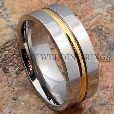 Titanium Wedding Band 14K Gold Accent Men's Ring Luxury Bridal Jewelry Size 6-13