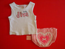 "NWT First Impressions Infant Girls ""little diva"" 2-Piece Outfit Clothing Set"
