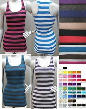 STRIPED RACERBACK LONG & LEAN RIBBED TANK TOP * S M L * LOTS OF COLOR VARIATIONS