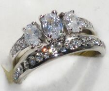 WOMEN 3STONE OVAL CT  SIMULATED DIAMOND RING WEDDING BAND SET R296 WHITE