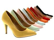 WOMENS FAUX LEATHER POINTED TOE COURT STILETTO MID HEELS LADIES SHOES SIZE 3 - 8