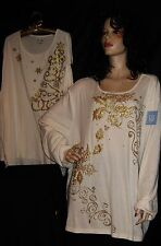 NWT LIZ & ME IVORY CREAM & GOLD SPARKLE HOLLY & BERRIES OR STARS & SNOWFLAKES 3X