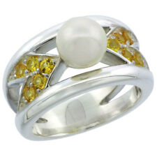 Sterling Silver Chevron Style Pearl Ring w/ Citrine-colored CZ Stones #trpp115