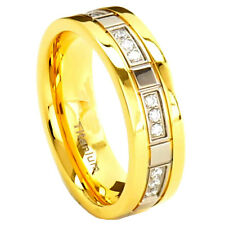 7mm Titanium Ring Clear Round Gold IP Band Cubic Zirconia Cz