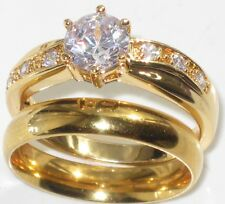 WOMENS  SOLITAIRE ENGAGEMENT SIMULATED DIAMOND RING AND WEDDING BAND SET r331 d