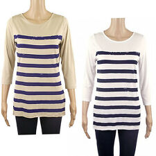 Esprit White or Beige & Blue Striped 3/4 Sleeve Top Nautical Stripes & Sequins