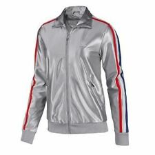 Adidas USA Olympics Womens Track Top TT Jacket Coat Mettalic Silver New Rare