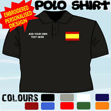PERSONALISED SPAIN SPANISH  FLAG EMBLEM T POLO SHIRT EMBROIDERED DESIGN